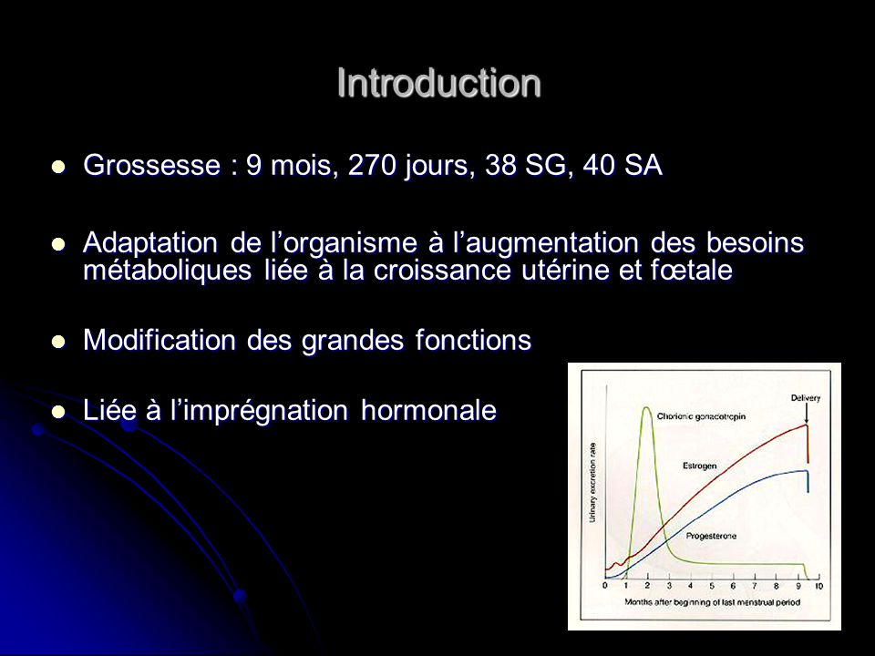 Introduction Grossesse : 9 mois, 270 jours, 38 SG, 40 SA Grossesse : 9 mois, 270 jours, 38 SG, 40 SA Adaptation de lorganisme à laugmentation des beso