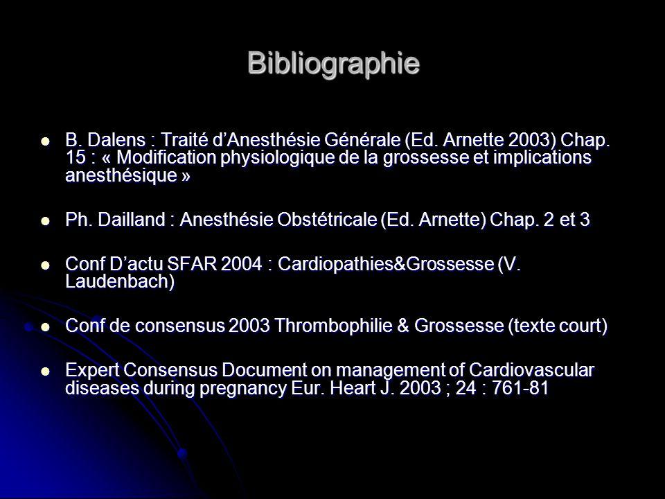 Bibliographie B. Dalens : Traité dAnesthésie Générale (Ed. Arnette 2003) Chap. 15 : « Modification physiologique de la grossesse et implications anest