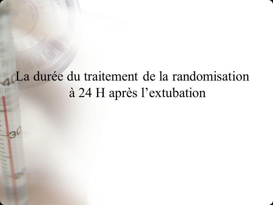 Surveillance de la survenue des infections 2 hémoc + BU +/- ECBU à linclusion T° / 4 H La purulence des sécrétions/8 H Cathéter /48 H Thorax si T°> 38,5 délai 12 H Rx sinus si T° > 72 H Hémoc > 38,5 à 2 prises Ablation cath + culture ECBU 1 fois/sem Pneumopathie infectieuse Rx + fièvre +LBA Une infection est reconnue et enregistrée comme telle par le centre de contrôle de létude