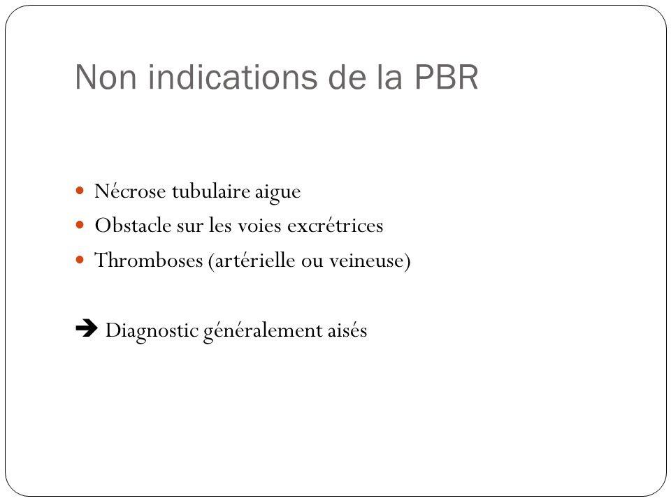 Non indications de la PBR Nécrose tubulaire aigue Obstacle sur les voies excrétrices Thromboses (artérielle ou veineuse) Diagnostic généralement aisés
