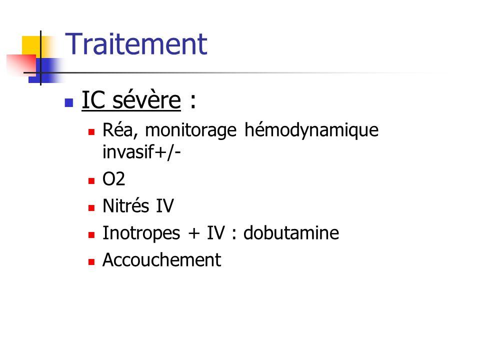Traitement IC sévère : Réa, monitorage hémodynamique invasif+/- O2 Nitrés IV Inotropes + IV : dobutamine Accouchement