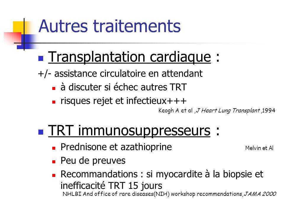 Autres traitements Transplantation cardiaque : +/- assistance circulatoire en attendant à discuter si échec autres TRT risques rejet et infectieux+++