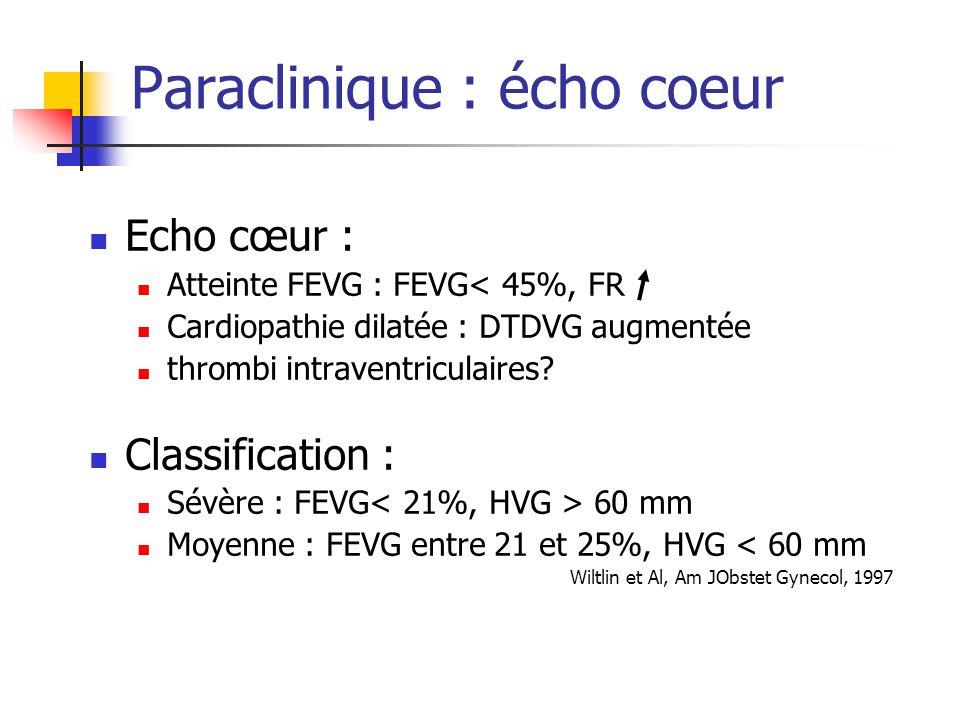 Paraclinique : écho coeur Echo cœur : Atteinte FEVG : FEVG< 45%, FR Cardiopathie dilatée : DTDVG augmentée thrombi intraventriculaires? Classification