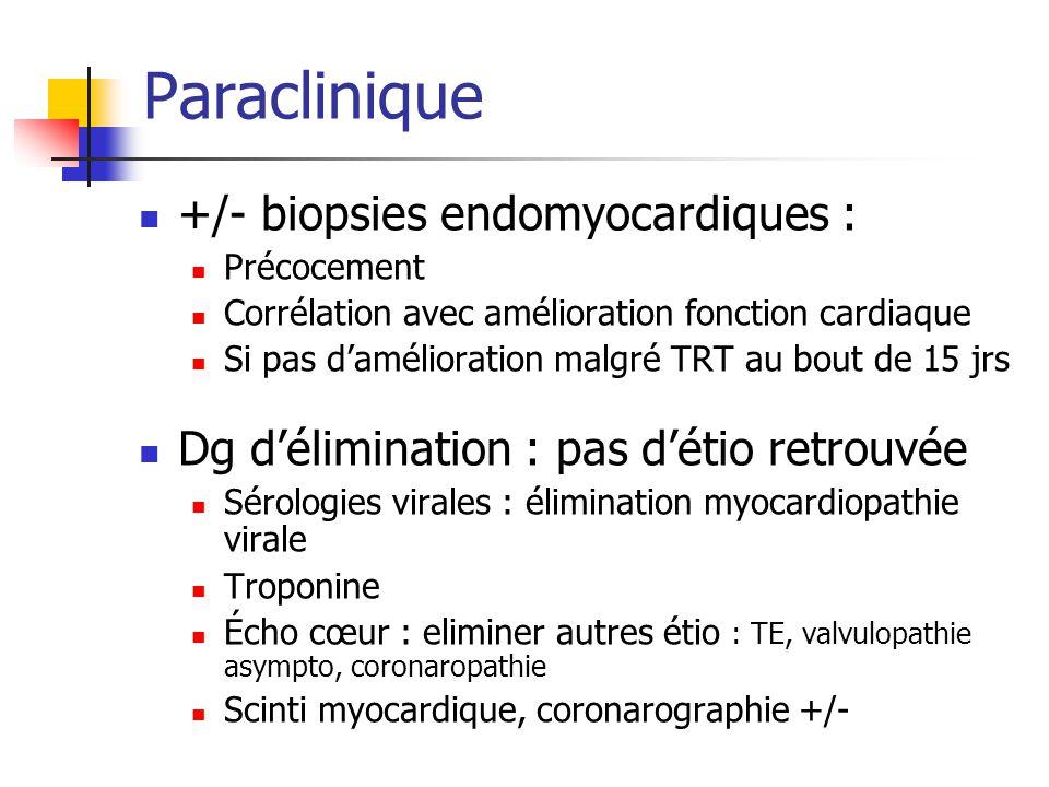 Paraclinique +/- biopsies endomyocardiques : Précocement Corrélation avec amélioration fonction cardiaque Si pas damélioration malgré TRT au bout de 1