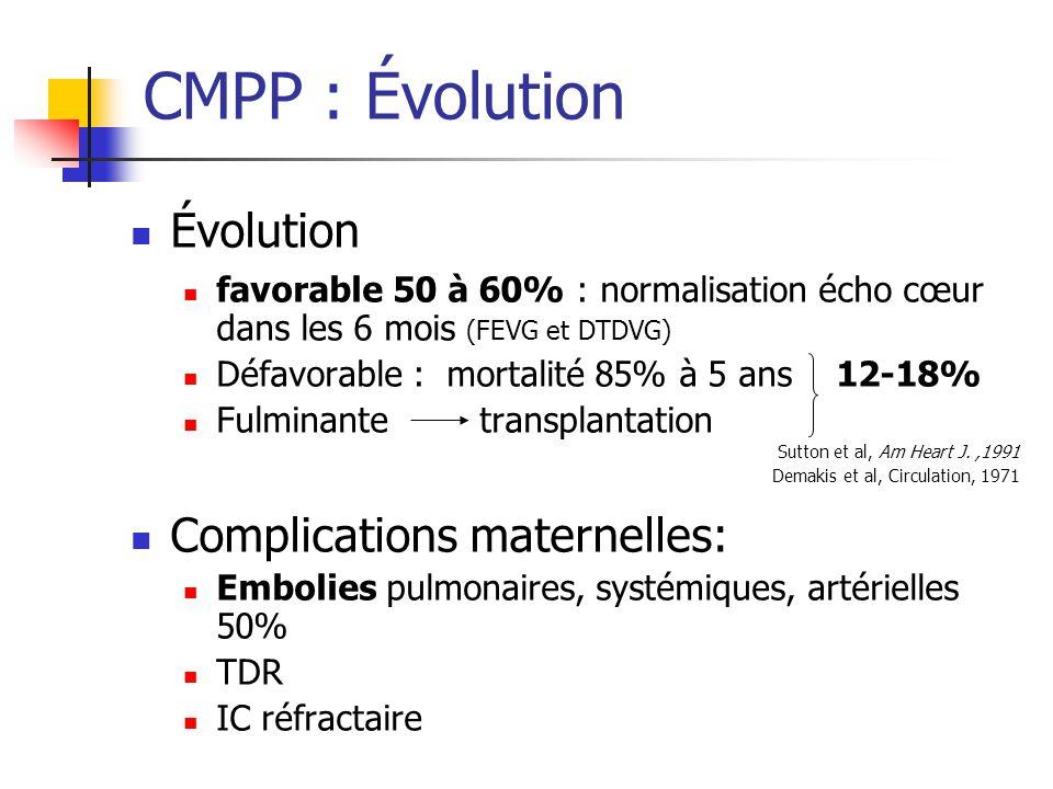 CMPP : Évolution Évolution favorable 50 à 60% : normalisation écho cœur dans les 6 mois (FEVG et DTDVG) Défavorable : mortalité 85% à 5 ans 12-18% Ful