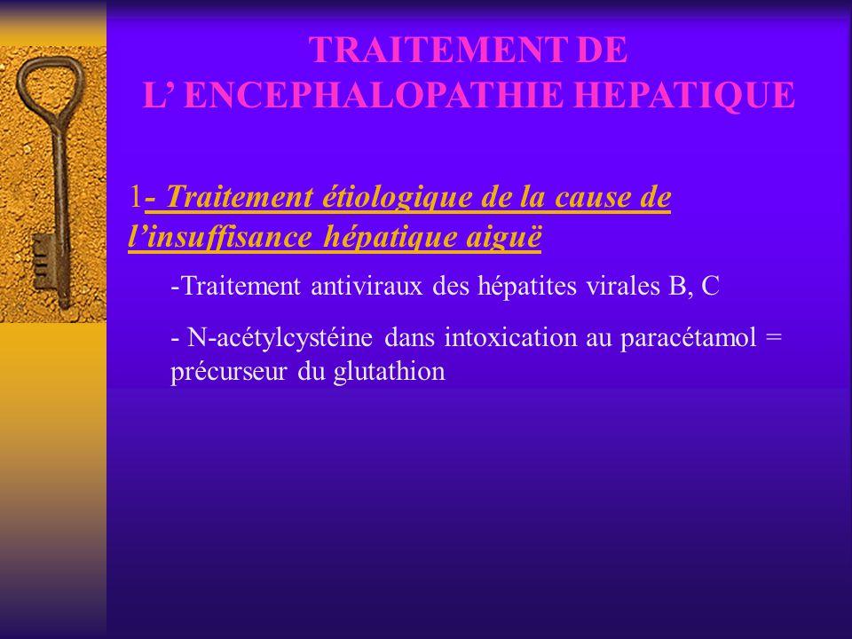 TRAITEMENT DE L ENCEPHALOPATHIE HEPATIQUE 1- Traitement étiologique de la cause de linsuffisance hépatique aiguë -Traitement antiviraux des hépatites
