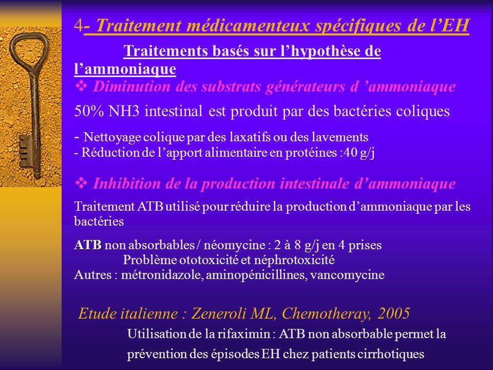 4- Traitement médicamenteux spécifiques de lEH Traitements basés sur lhypothèse de lammoniaque Diminution des substrats générateurs d ammoniaque 50% N