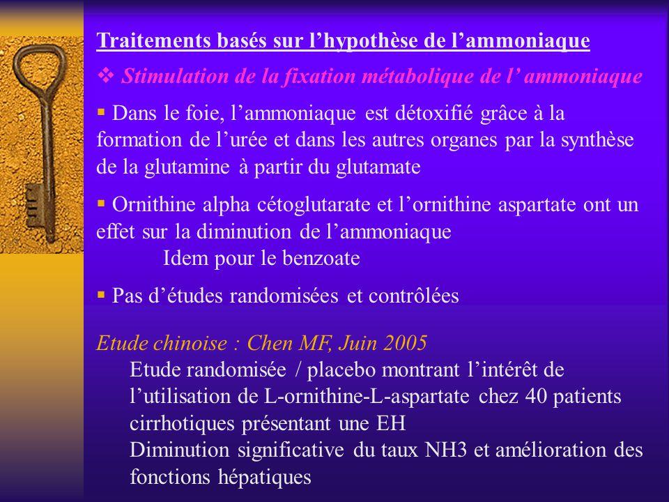 Traitements basés sur lhypothèse de lammoniaque Stimulation de la fixation métabolique de l ammoniaque Dans le foie, lammoniaque est détoxifié grâce à