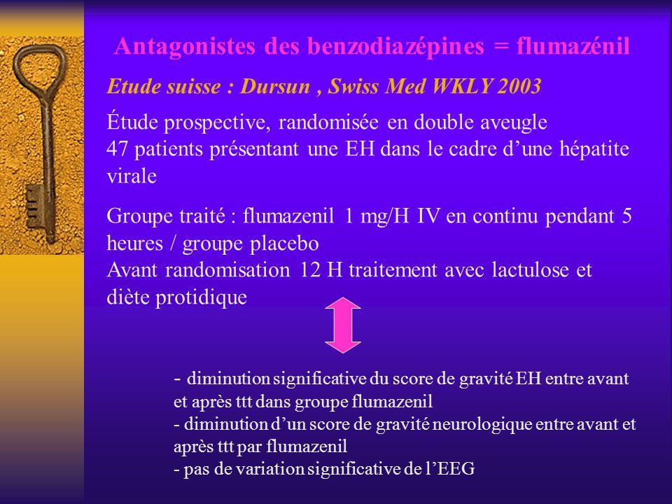 Antagonistes des benzodiazépines = flumazénil Etude suisse : Dursun, Swiss Med WKLY 2003 Étude prospective, randomisée en double aveugle 47 patients p