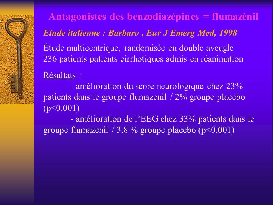 Antagonistes des benzodiazépines = flumazénil Etude italienne : Barbaro, Eur J Emerg Med, 1998 Étude multicentrique, randomisée en double aveugle 236