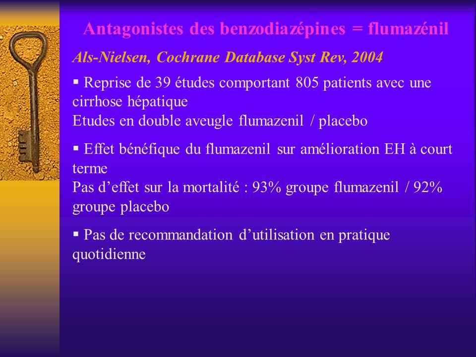Antagonistes des benzodiazépines = flumazénil Als-Nielsen, Cochrane Database Syst Rev, 2004 Reprise de 39 études comportant 805 patients avec une cirr