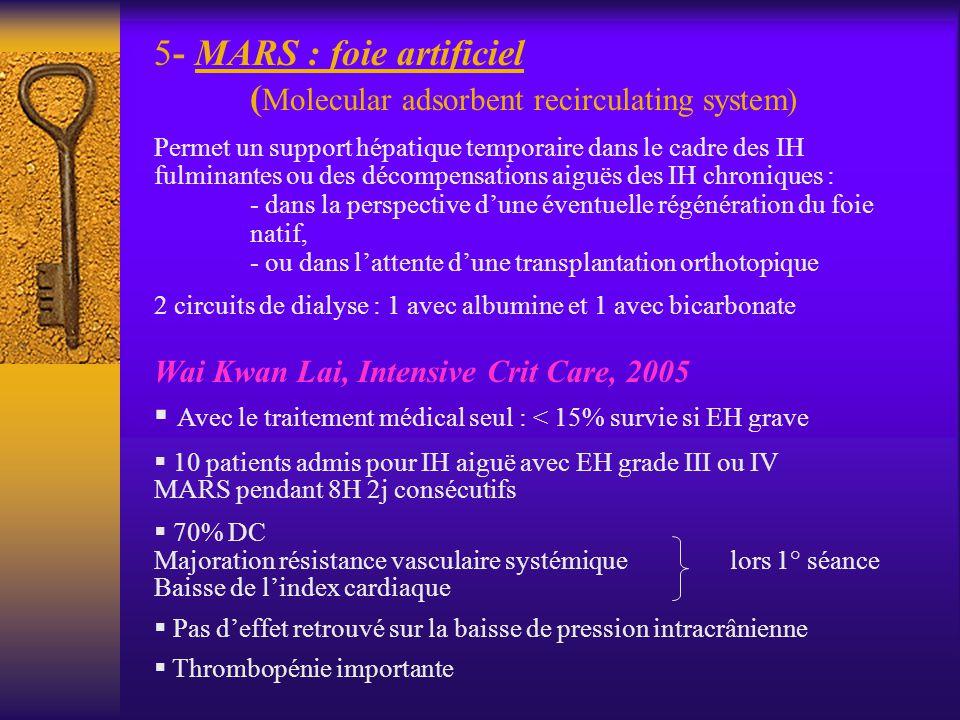 5- MARS : foie artificiel ( Molecular adsorbent recirculating system) Permet un support hépatique temporaire dans le cadre des IH fulminantes ou des d