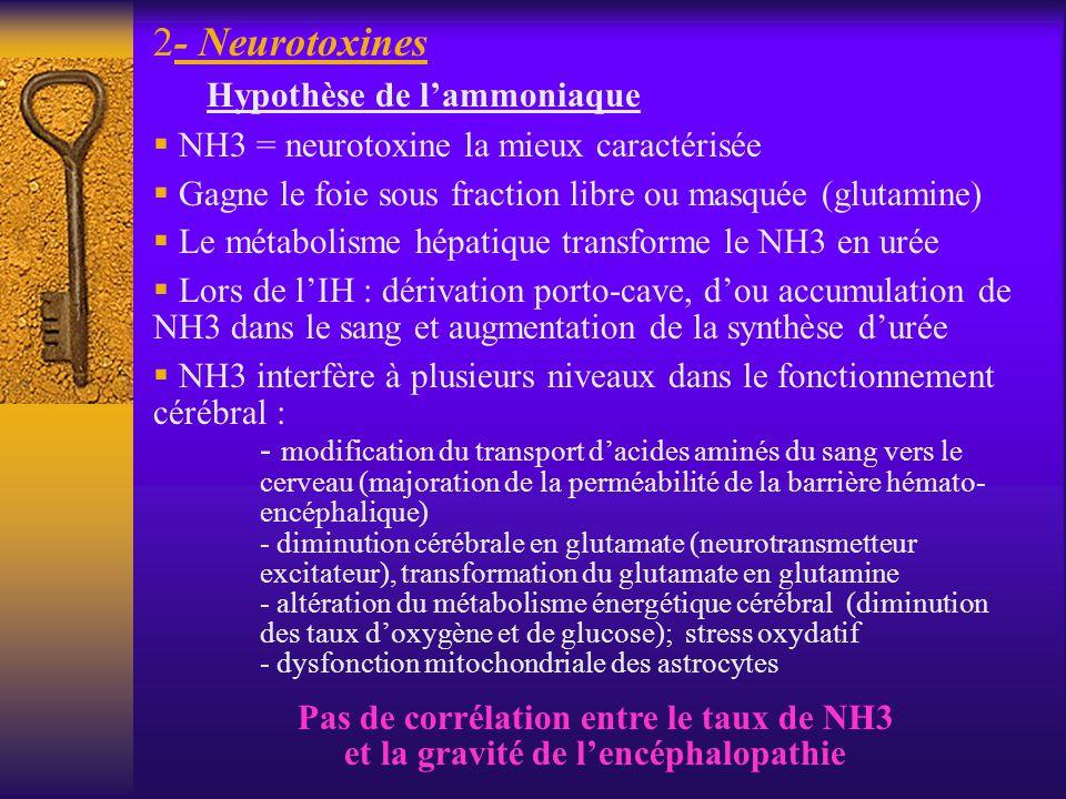 2- Neurotoxines Hypothèse de lammoniaque NH3 = neurotoxine la mieux caractérisée Gagne le foie sous fraction libre ou masquée (glutamine) Le métabolis