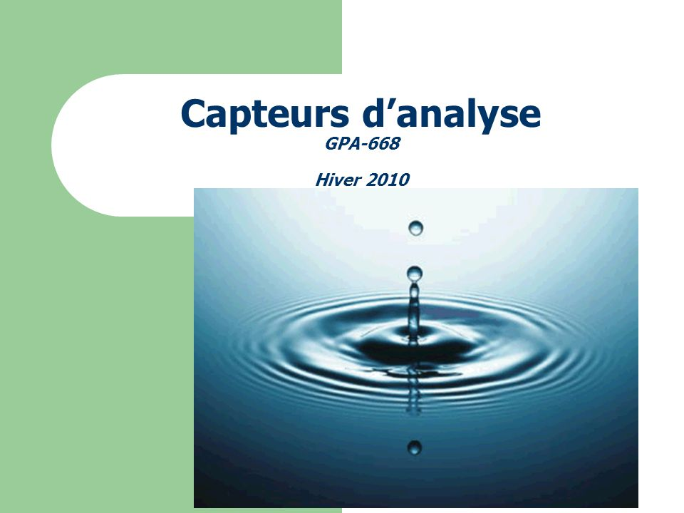 Capteurs danalyse GPA-668 Hiver 2010