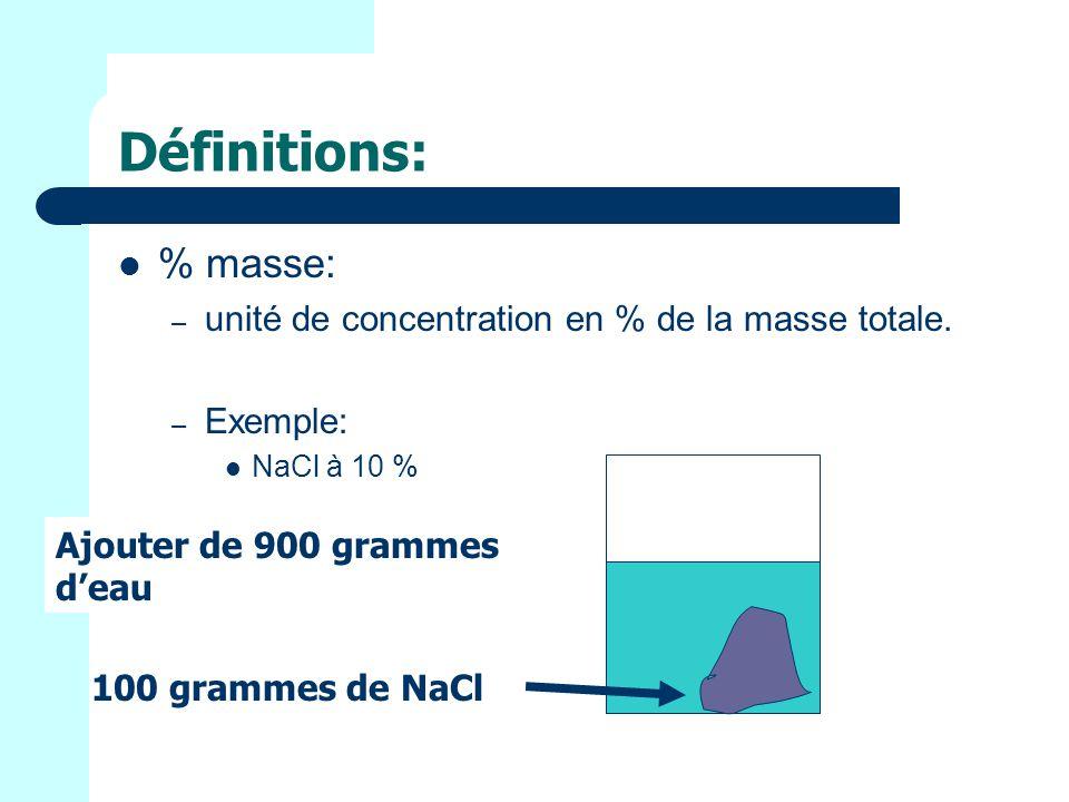Définitions: % masse: – unité de concentration en % de la masse totale.