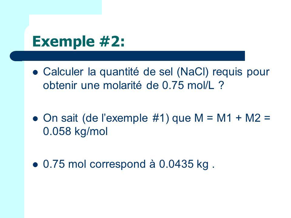 Exemple #2: Calculer la quantité de sel (NaCl) requis pour obtenir une molarité de 0.75 mol/L .