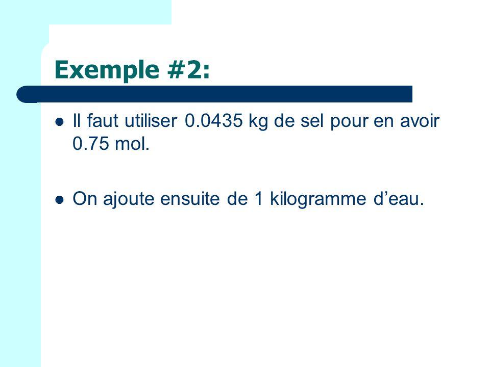 Exemple #2: Il faut utiliser 0.0435 kg de sel pour en avoir 0.75 mol.