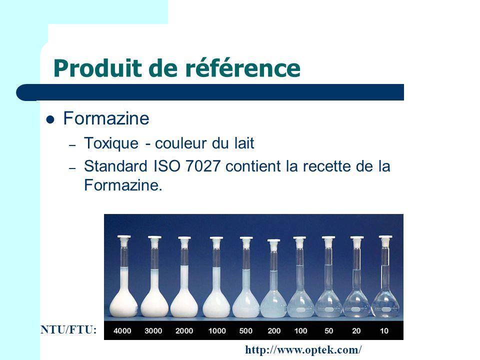 Produit de référence Formazine – Toxique - couleur du lait – Standard ISO 7027 contient la recette de la Formazine.