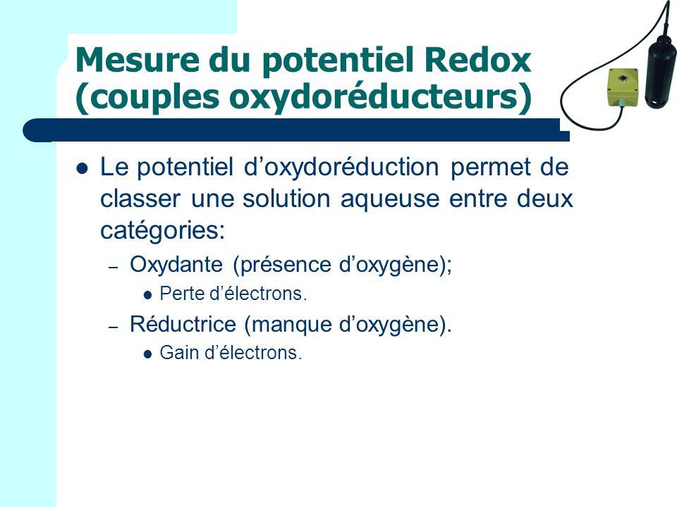 Mesure du potentiel Redox (couples oxydoréducteurs) Le potentiel doxydoréduction permet de classer une solution aqueuse entre deux catégories: – Oxydante (présence doxygène); Perte délectrons.