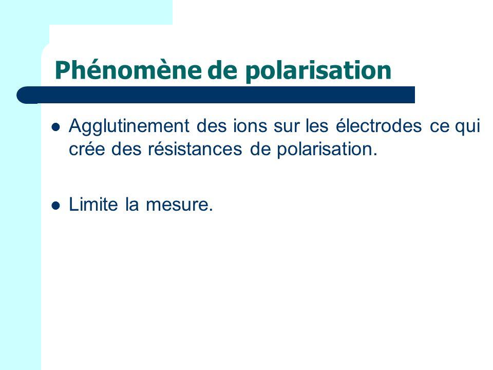 Phénomène de polarisation Agglutinement des ions sur les électrodes ce qui crée des résistances de polarisation.