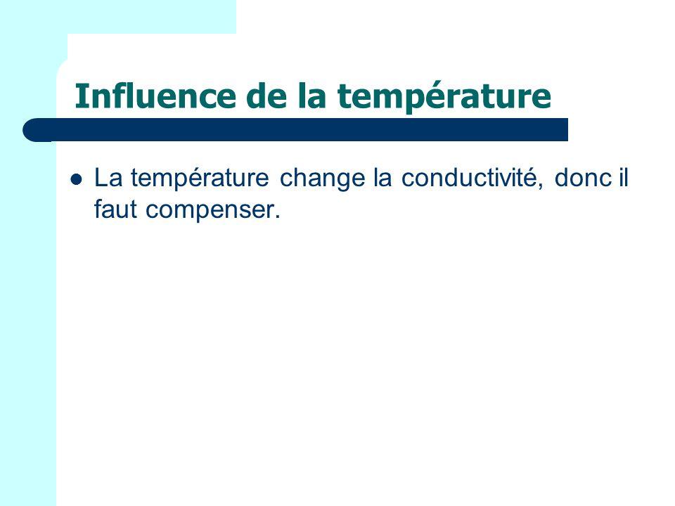 Influence de la température La température change la conductivité, donc il faut compenser.