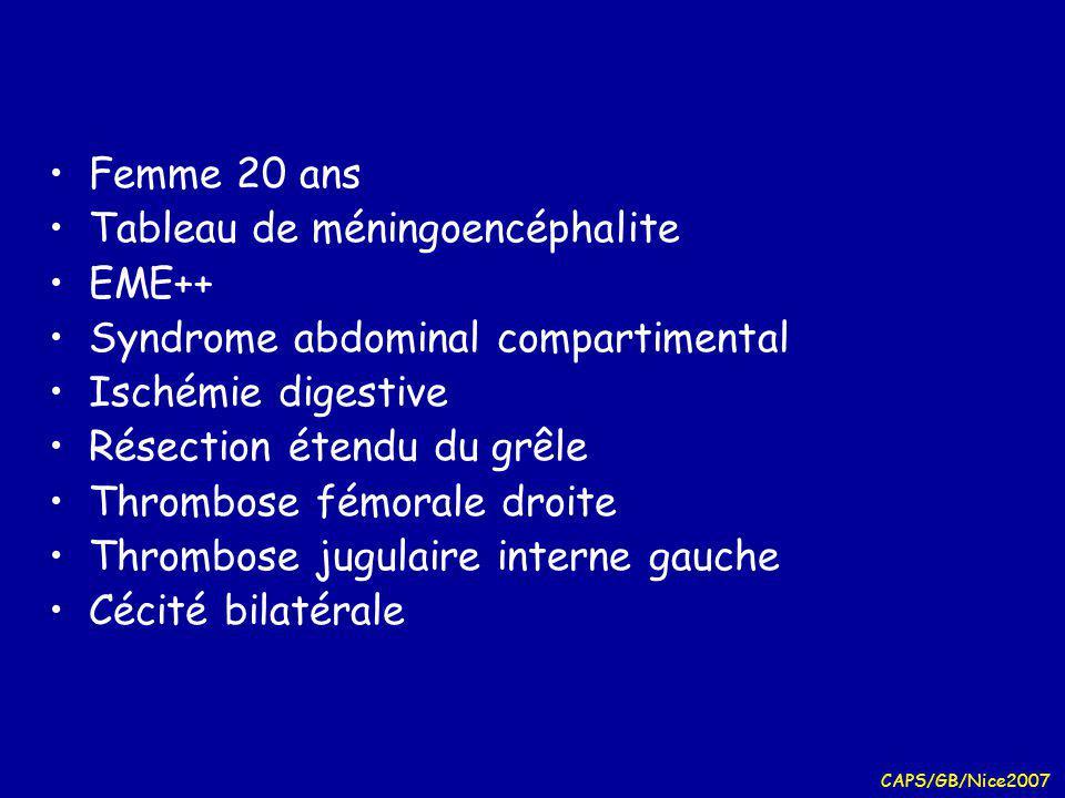 CAPS/GB/Nice2007 Anticorps antiphospholipides Autoanticorps dirigés contre les phospholipides ou leurs protéines de liaison (cellules endothéliales, plaquettes, facteurs coagulation) Anticoagulant lupique « anticoagulant circulant » « anti- prothombinase » –Ac inhibiteur allongeant le TCA in vitro (non corrigé par adjonction de palsma témoin) –Effet thrombogène in vivo Anticorps anticardiolipine –dirigés contre PL surface des mitochondries (IgG + thrombogène) Anticorps anti-ß2 GP1 –ß2 GP1 protéine à activité anticoagulante de grande affinité pour PL cationiques