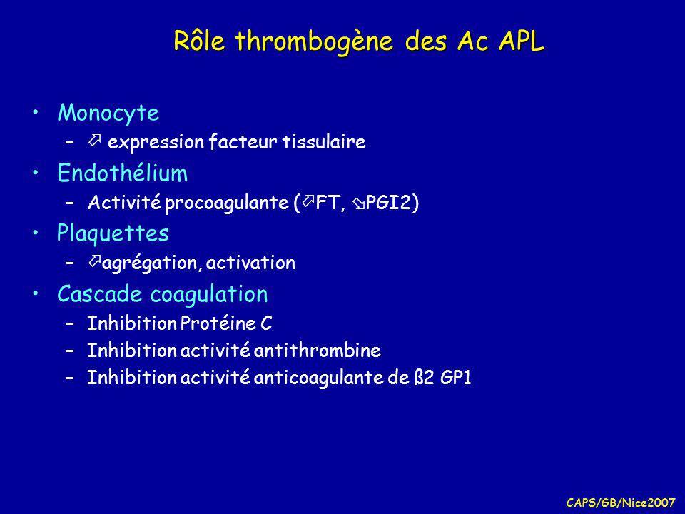CAPS/GB/Nice2007 SAPL circonstances diagnostiques Thromboses veineuses Embolie pulmonaires Thromboses artérielles Fausses couches à répétition Allongement spontané TCA Thrombopénie inexpliquée Livedo reticularis Recherche systématique au cours dun LED …
