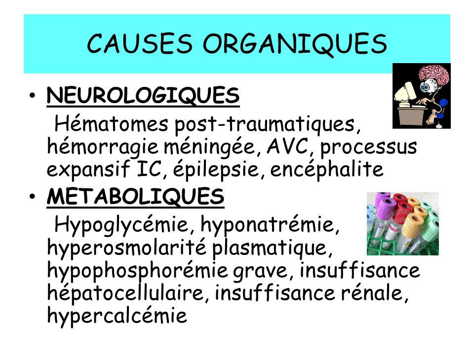 CAUSES ORGANIQUES NEUROLOGIQUES Hématomes post-traumatiques, hémorragie méningée, AVC, processus expansif IC, épilepsie, encéphalite METABOLIQUES Hypoglycémie, hyponatrémie, hyperosmolarité plasmatique, hypophosphorémie grave, insuffisance hépatocellulaire, insuffisance rénale, hypercalcémie