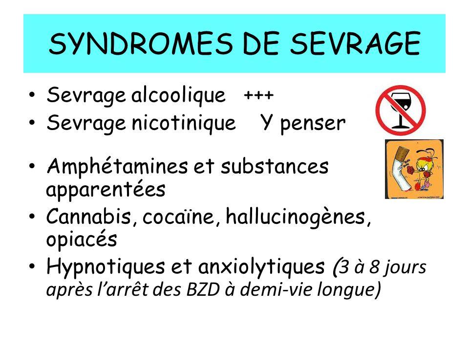SYNDROMES DE SEVRAGE Sevrage alcoolique +++ Sevrage nicotinique Y penser Amphétamines et substances apparentées Cannabis, cocaïne, hallucinogènes, opiacés Hypnotiques et anxiolytiques ( 3 à 8 jours après larrêt des BZD à demi-vie longue)
