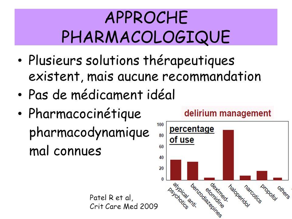 APPROCHE PHARMACOLOGIQUE Plusieurs solutions thérapeutiques existent, mais aucune recommandation Pas de médicament idéal Pharmacocinétique pharmacodynamique mal connues Patel R et al, Crit Care Med 2009