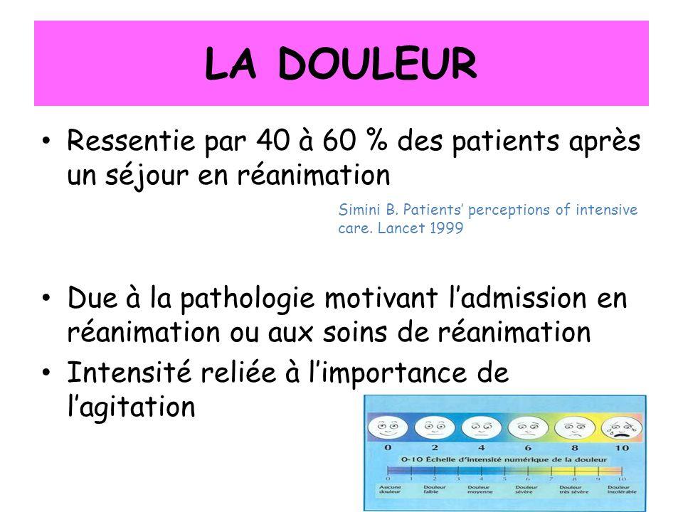 LA DOULEUR Ressentie par 40 à 60 % des patients après un séjour en réanimation Due à la pathologie motivant ladmission en réanimation ou aux soins de réanimation Intensité reliée à limportance de lagitation Simini B.