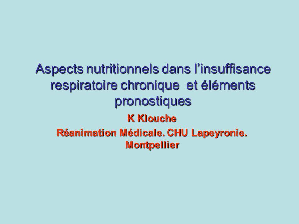 Aspects nutritionnels dans linsuffisance respiratoire chronique et éléments pronostiques K Klouche Réanimation Médicale. CHU Lapeyronie. Montpellier