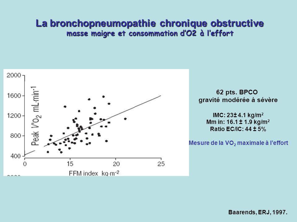 Baarends, ERJ, 1997. La bronchopneumopathie chronique obstructive masse maigre et consommation dO2 à leffort 62 pts. BPCO gravité modérée à sévère IMC
