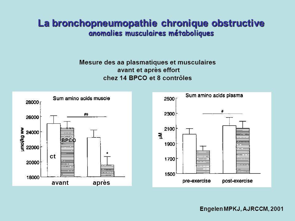 La bronchopneumopathie chronique obstructive anomalies musculaires métaboliques ct BPCO avant après Mesure des aa plasmatiques et musculaires avant et