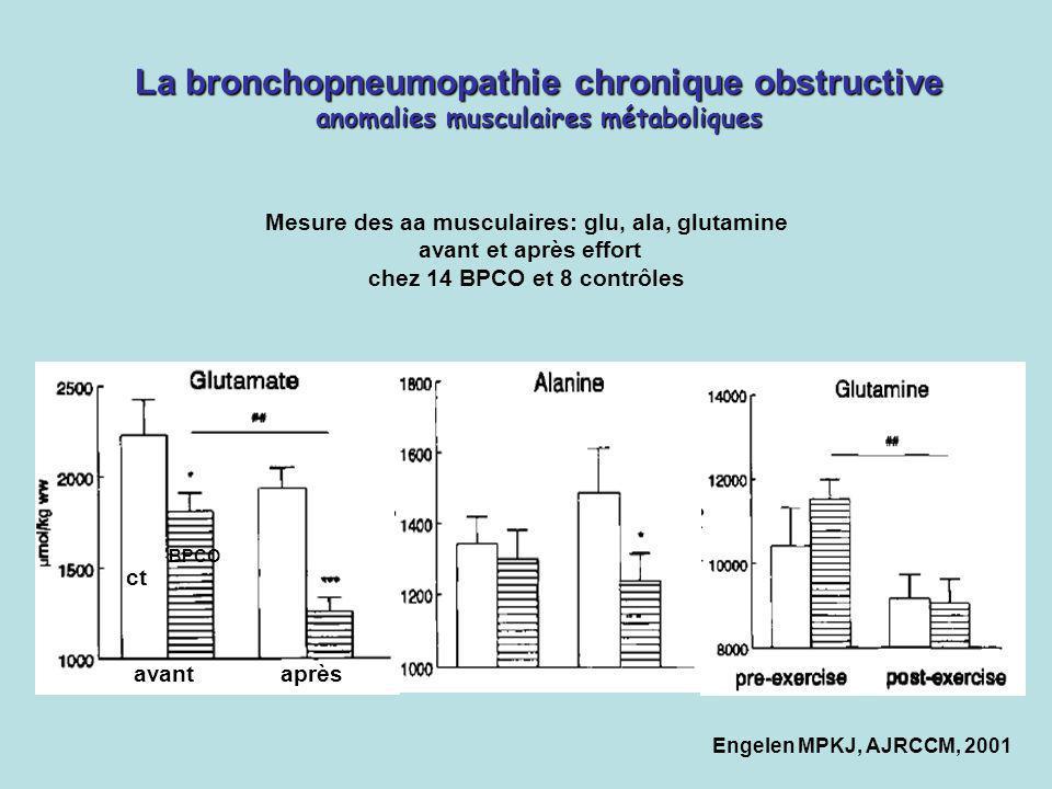 La bronchopneumopathie chronique obstructive anomalies musculaires métaboliques avant après ct BPCO Mesure des aa musculaires: glu, ala, glutamine ava