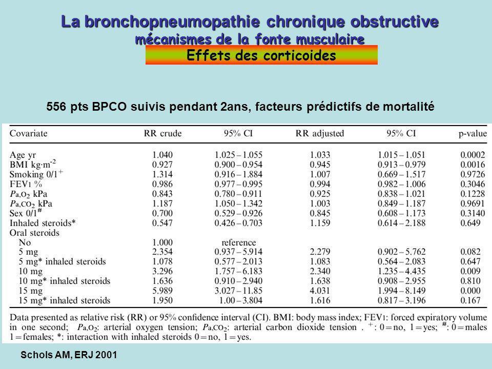 Schols AM, ERJ 2001 La bronchopneumopathie chronique obstructive mécanismes de la fonte musculaire La bronchopneumopathie chronique obstructive mécani