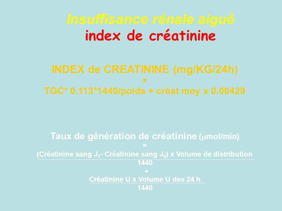 Insuffisance rénale aiguë index de créatinine INDEX de CREATININE (mg/KG/24h) = TGC* 0.113*1440/poids + créat moy x 0.00429 Taux de génération de créa