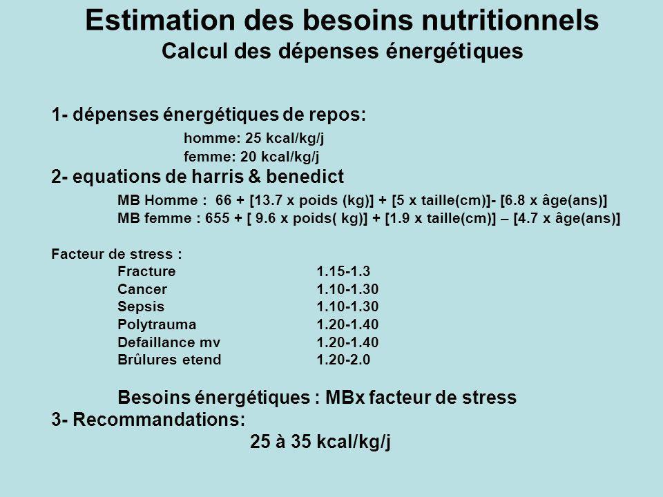 Estimation des besoins nutritionnels Calcul des dépenses énergétiques 1- dépenses énergétiques de repos: homme: 25 kcal/kg/j femme: 20 kcal/kg/j 2- eq
