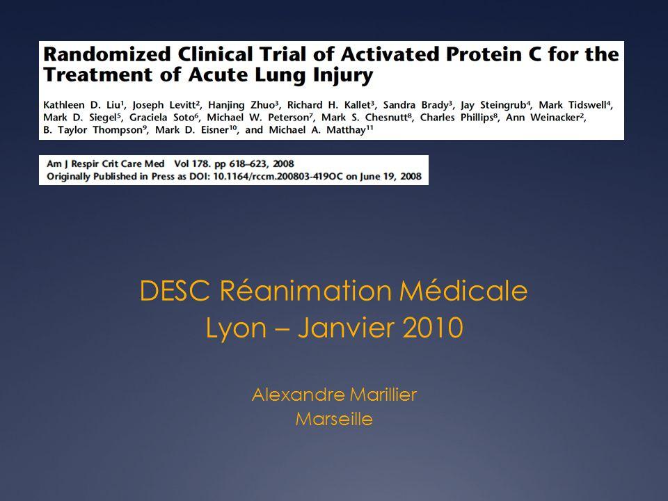 INTRODUCTION Aucun TRT adjuvant na eu dimpact sur la mortalité ds le SDRA Rôle majeur : coagulation et inflammation