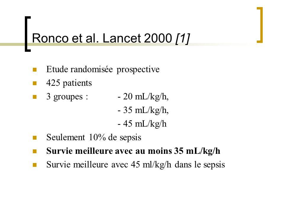 Ronco et al. Lancet 2000 [1] Etude randomisée prospective 425 patients 3 groupes : - 20 mL/kg/h, - 35 mL/kg/h, - 45 mL/kg/h Seulement 10% de sepsis Su