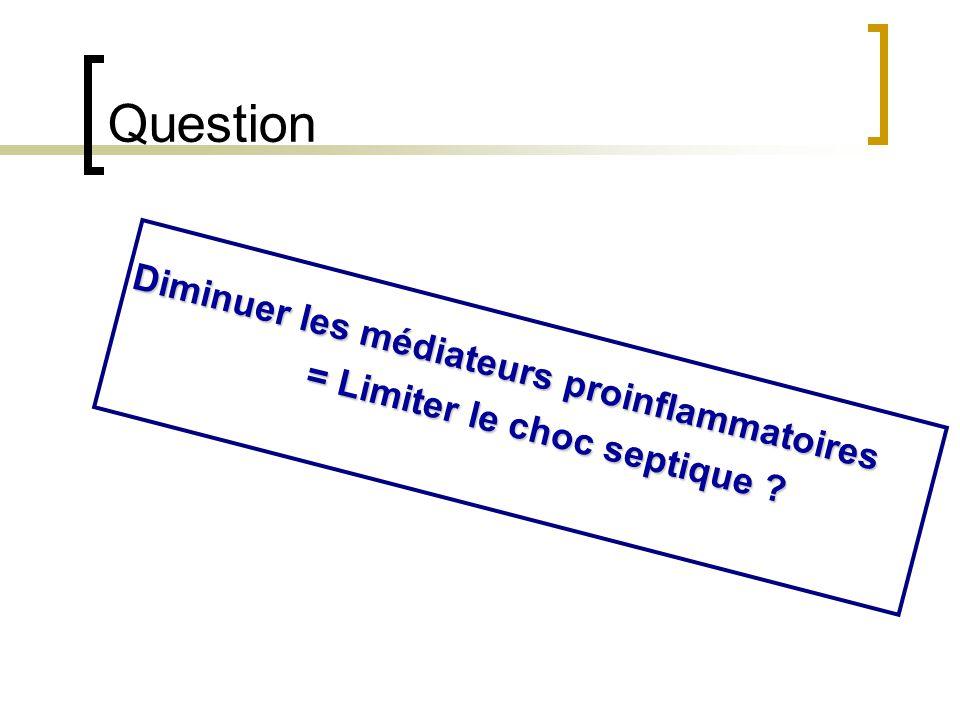 Question Diminuer les médiateurs proinflammatoires = Limiter le choc septique ?