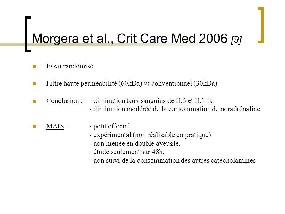 Morgera et al., Crit Care Med 2006 [9] Essai randomisé Filtre haute perméabilité (60kDa) vs conventionnel (30kDa) Conclusion : - diminution taux sangu