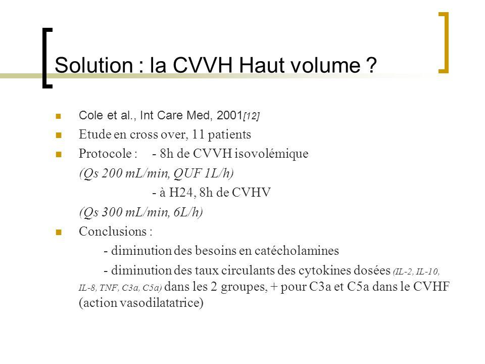 Solution : la CVVH Haut volume ? Cole et al., Int Care Med, 2001 [12] Etude en cross over, 11 patients Protocole :- 8h de CVVH isovolémique (Qs 200 mL