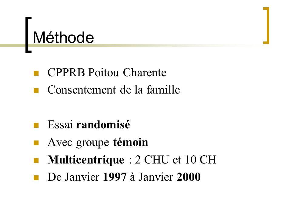 Méthode CPPRB Poitou Charente Consentement de la famille Essai randomisé Avec groupe témoin Multicentrique : 2 CHU et 10 CH De Janvier 1997 à Janvier