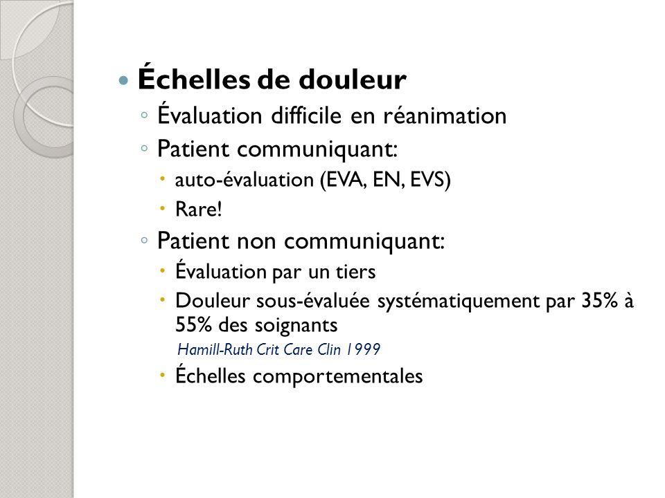 Échelles de douleur Évaluation difficile en réanimation Patient communiquant: auto-évaluation (EVA, EN, EVS) Rare.