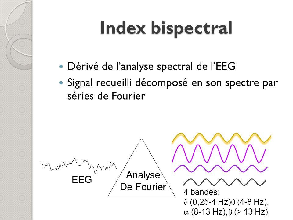 Index bispectral Dérivé de lanalyse spectral de lEEG Signal recueilli décomposé en son spectre par séries de Fourier EEG Analyse De Fourier 4 bandes: (0,25-4 Hz) (4-8 Hz), (8-13 Hz), (> 13 Hz)