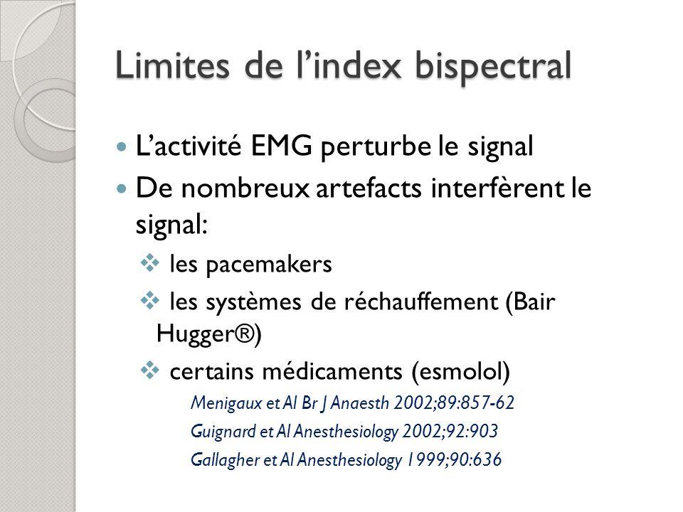 Limites de lindex bispectral Lactivité EMG perturbe le signal De nombreux artefacts interfèrent le signal: les pacemakers les systèmes de réchauffement (Bair Hugger®) certains médicaments (esmolol) Menigaux et Al Br J Anaesth 2002;89:857-62 Guignard et Al Anesthesiology 2002;92:903 Gallagher et Al Anesthesiology 1999;90:636