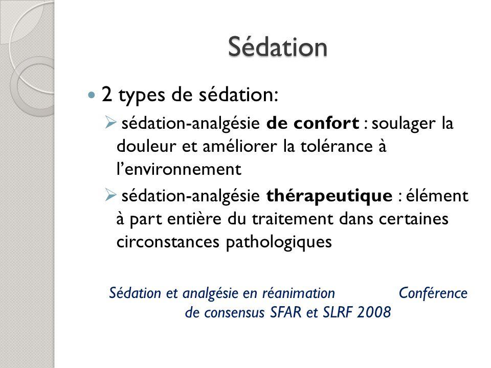 Sédation 2 types de sédation: sédation-analgésie de confort : soulager la douleur et améliorer la tolérance à lenvironnement sédation-analgésie thérapeutique : élément à part entière du traitement dans certaines circonstances pathologiques Sédation et analgésie en réanimation Conférence de consensus SFAR et SLRF 2008