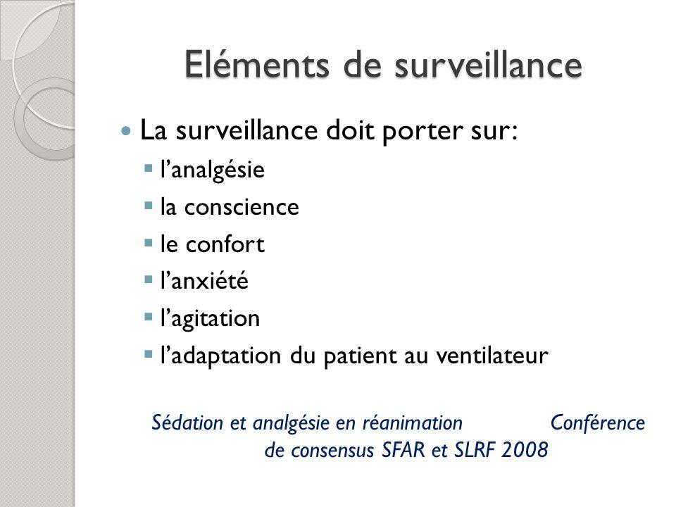 Eléments de surveillance La surveillance doit porter sur: lanalgésie la conscience le confort lanxiété lagitation ladaptation du patient au ventilateur Sédation et analgésie en réanimation Conférence de consensus SFAR et SLRF 2008