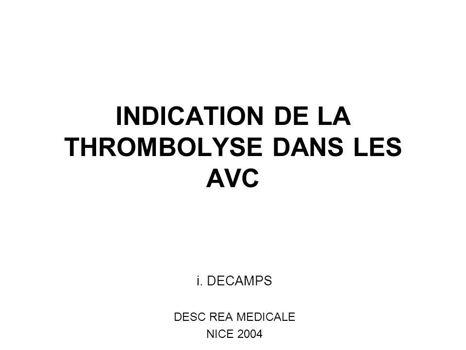 INDICATION DE LA THROMBOLYSE DANS LES AVC i. DECAMPS DESC REA MEDICALE NICE 2004